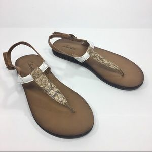 Clarks Buckle Sandals White Brown Tan 6